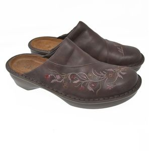 NAOT Sz 41 Brown Leather Floral Slip On Clogs